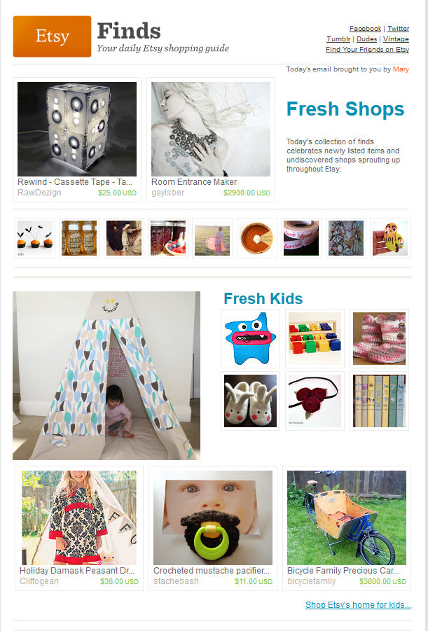 Etsy Fresh Kids teepee