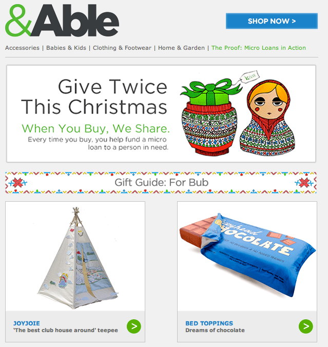 &Able tent feature December 2012