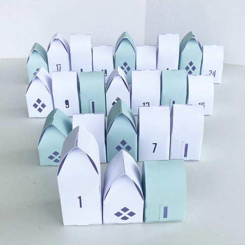 Paper House Advent Calendar | 24 houses | Christmas flatpack houses