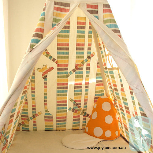 Secret Forest Teepee (Primary Colour Barcode Stripes) - joyjoie