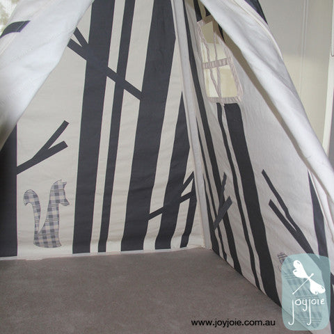 Grey Check animals secret hideaway teepee - joyjoie
