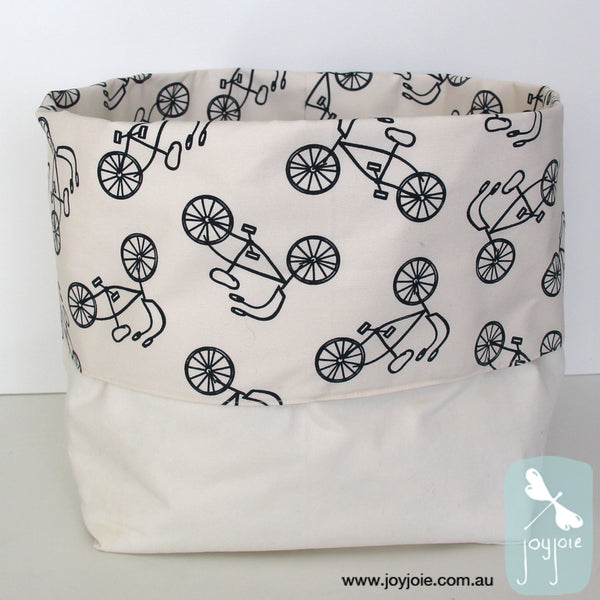 Bike Print Storage Sack with cream contrast - joyjoie