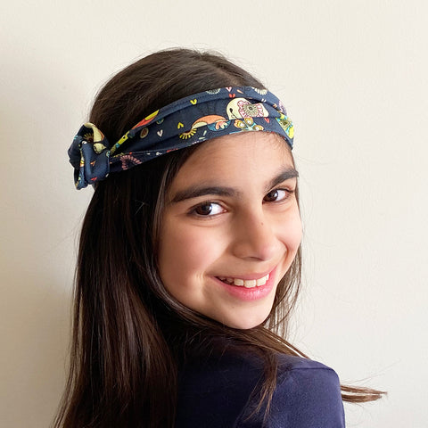 Birds inside patterned Head Band | Fabric Wire Headband