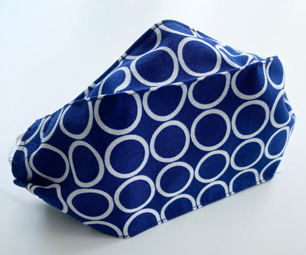 Blue Circle Print Cotton Face Mask | triple layer | Women's, men's and children's sizes