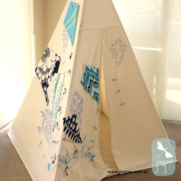 Blue Kite teepee with geometric accents