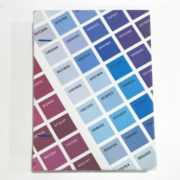Blue/Purple A6 Coptic Bound Sketchbook | Handmade | Layflat book | Twill Fabric cover