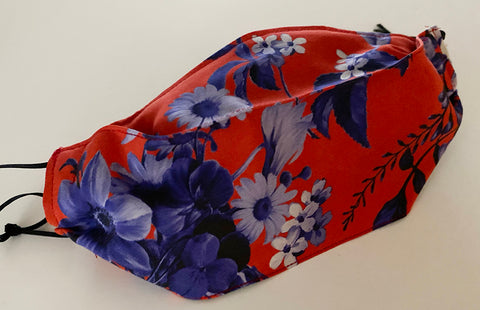 Red with blue floral Silk Face Mask | triple layer | Women's, men's and children's sizes