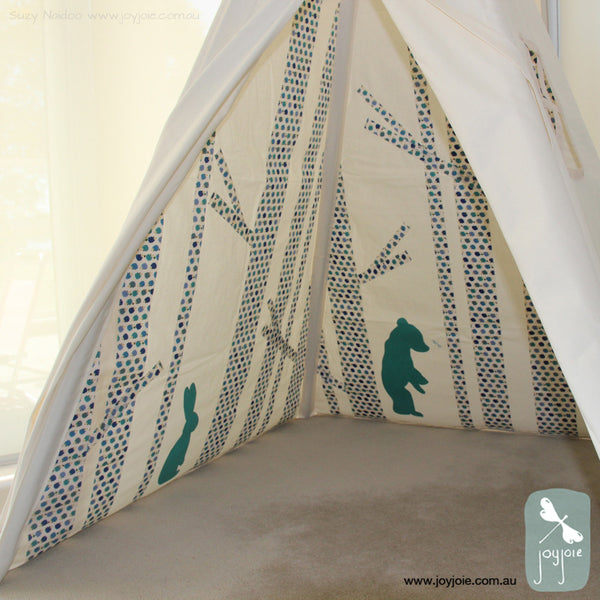 Secret Greenwood Teepee – blue toned hedgehog print - joyjoie