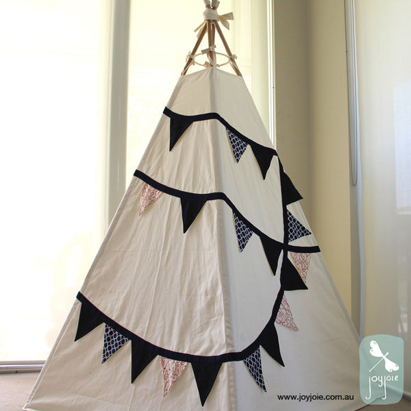 Bunting Teepee in Navy, Red and Cream accents - joyjoie