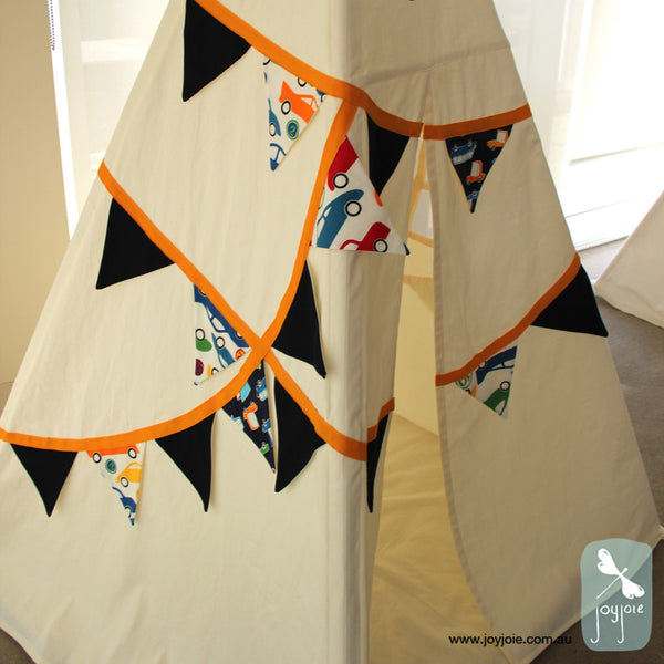 Bunting Teepee in Navy Blue and Cars - joyjoie