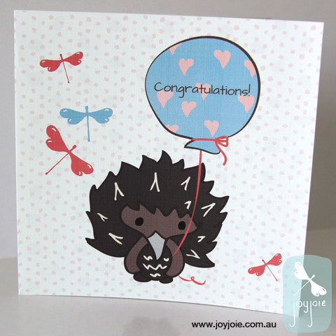 Echidna in the Garden Congratulations Card