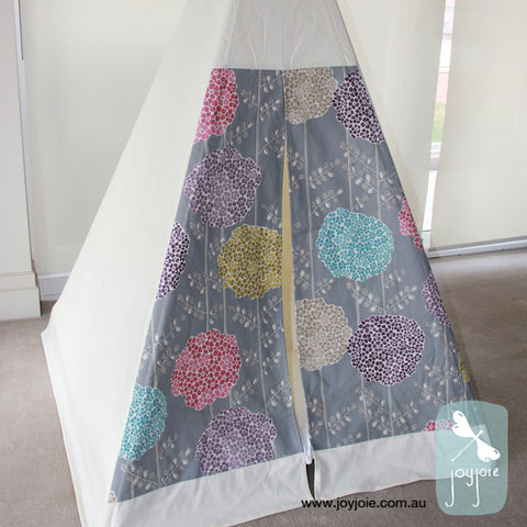 Teepee with Floral Decorative Doors (ex. poles) - joyjoie