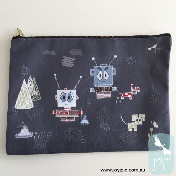 Large zipper pouch featuring a robot illustration