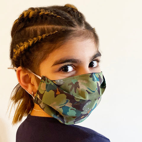 Green Floral Silk Face Mask | triple layer | Women's, men's and children's sizes