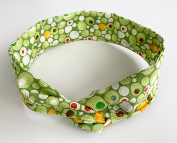 Green Bubble patterned Head Band | Fabric Wire Headband