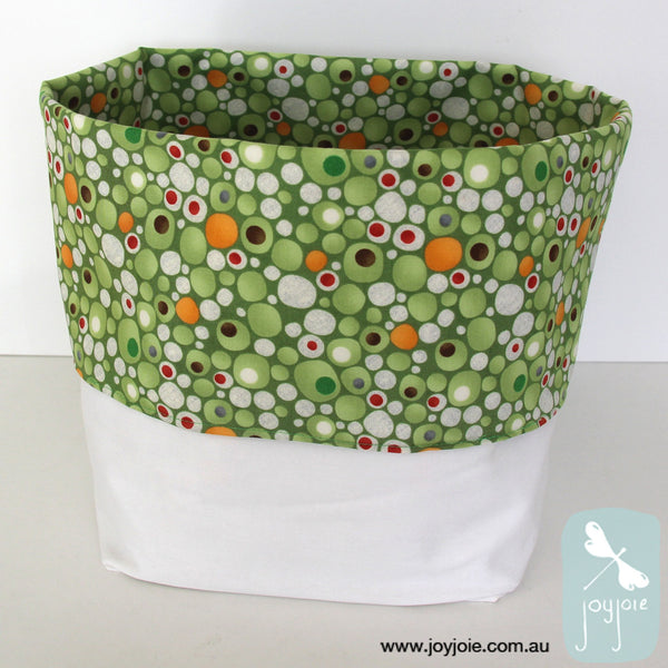 Green spot Print Storage Sack with cream contrast - joyjoie