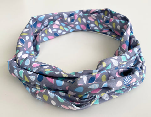 Grey Raindrop print Head Wrap | Fabric Wire Headwrap