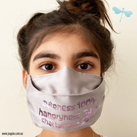 Custom Text silk or Cotton Face Mask | triple layer | Women's, men's and children's sizes