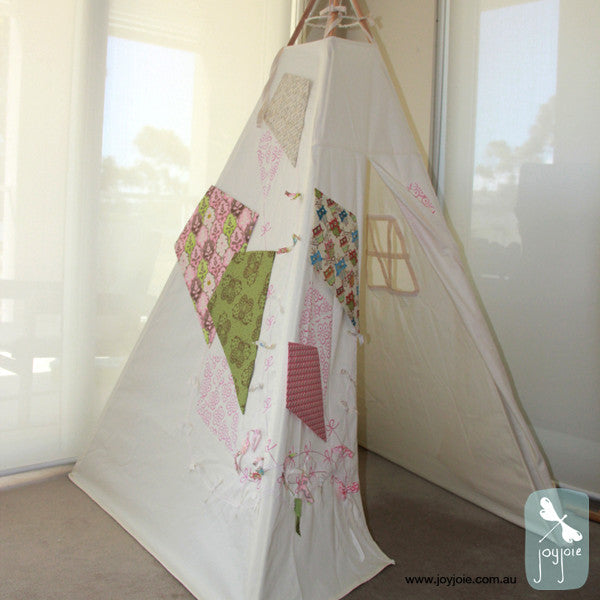 Pink and Green Kite Teepee with owls - joyjoie