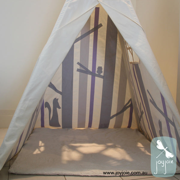 Secret Woodland Teepee – Customised in Greys & Lilac - joyjoie