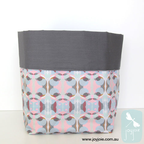 Lotus pond inspired print Storage Sack with grey contrast - joyjoie