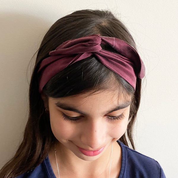 Maroon Silk Head Band | Fabric Wire Headband
