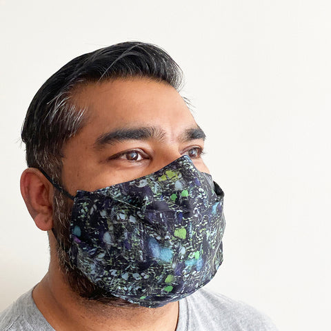 Black Print Silk Face Mask | triple layer | Women's, men's and children's sizes