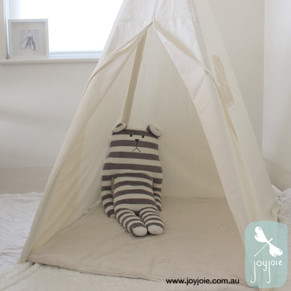Minimalist teepee in cream with a window