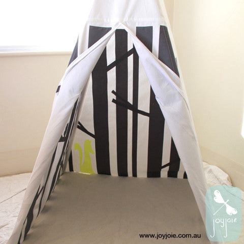 Secret Woodland Teepee – Custom order with neon yellow fox and slate trees - joyjoie
