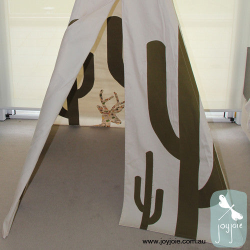 Secret Desert Teepee – Olive Cacti and patterned animals - joyjoie