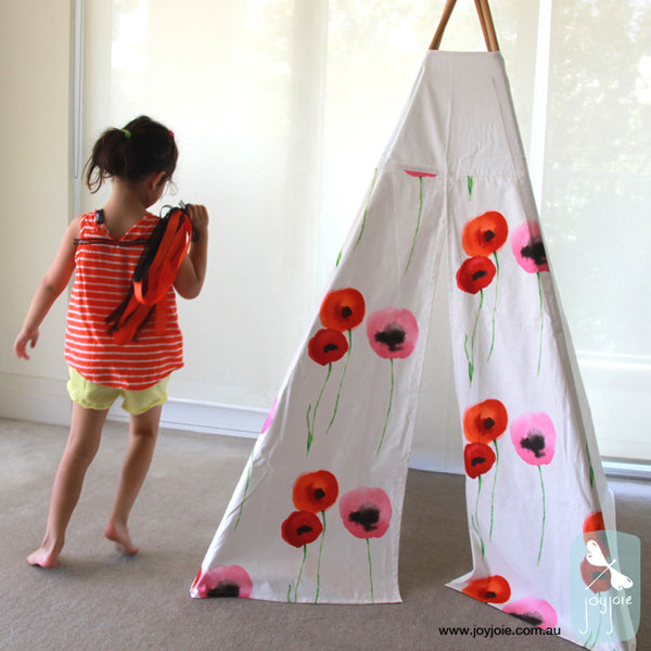 Teepee with Poppies Decorative Doors (ex. poles) - joyjoie