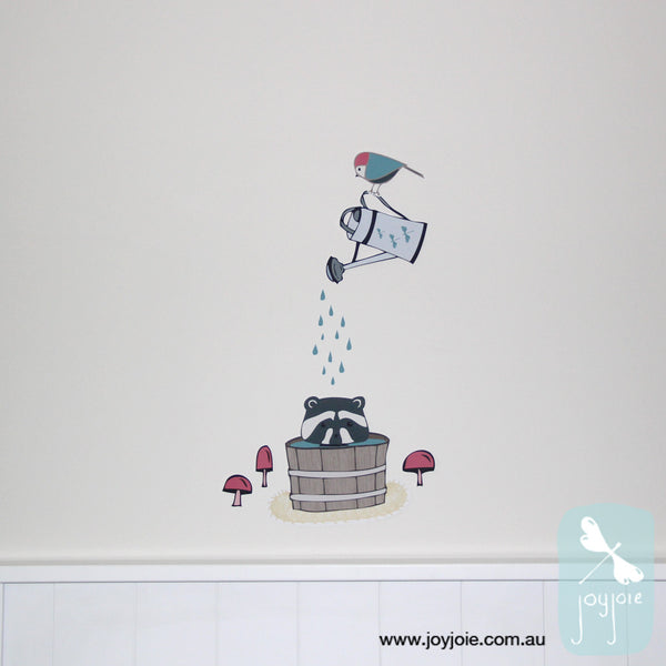 Racoon Antics Forest Bath Removable Decal - joyjoie