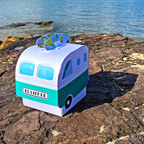 Beach theme Retro Glamper Camper Christmas Surprise Box | Custom Made Van Warming Gift