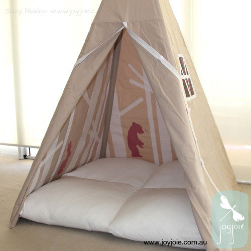 Sand Teepee – white trees and mushroom pink animals - joyjoie