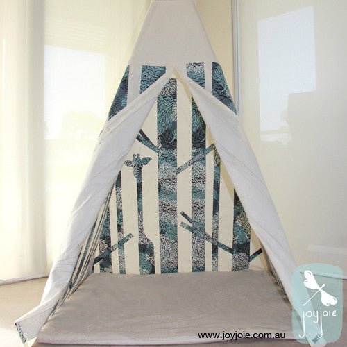 Secret Forest Teepee – Coral in grey-blue and grey tones - joyjoie