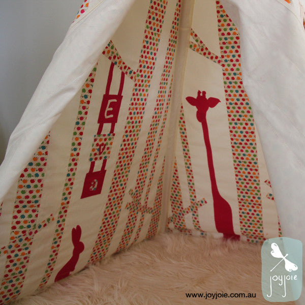 Secret Hideaway Teepee in Hedgehog print - joyjoie