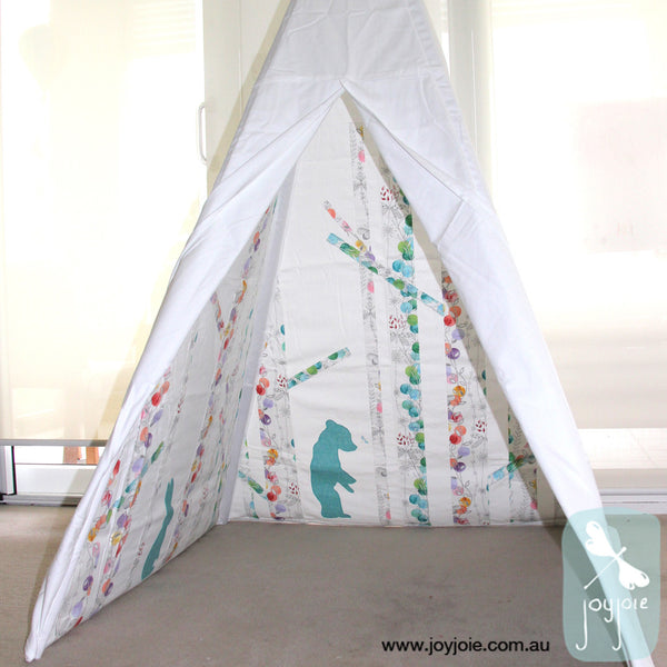 Secret Greenwood tepee in butterfly print and teal animals - joyjoie