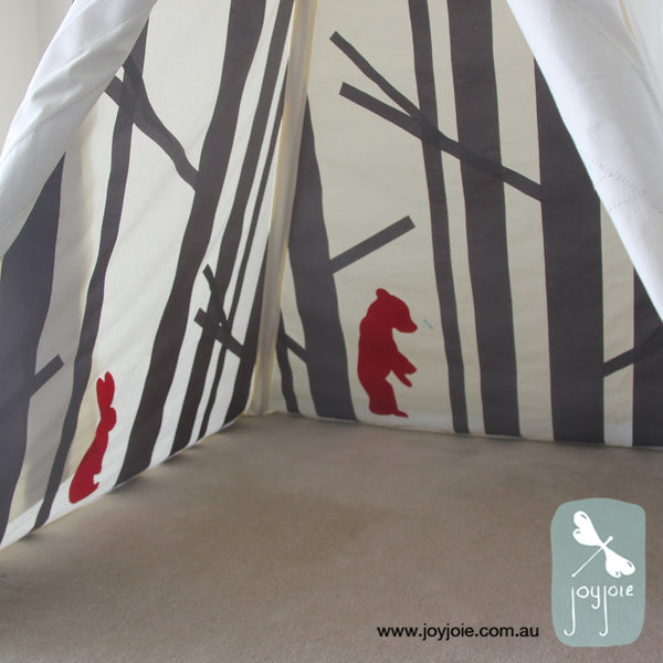 Secret Greenwood Teepee in graphite and red - joyjoie