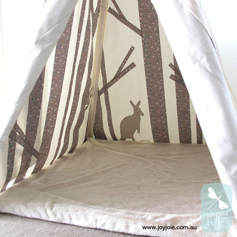 Secret Ranges Teepee – Trees print with animal feature in geometric (Ex. Poles) - joyjoie