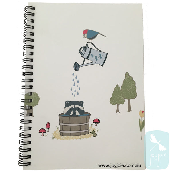 Racoon Antics Forest Bath Spiral Notebook - joyjoie