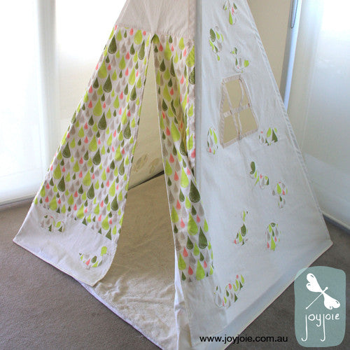 Spring Teepee with ducks in olivedew drops fabric - joyjoie