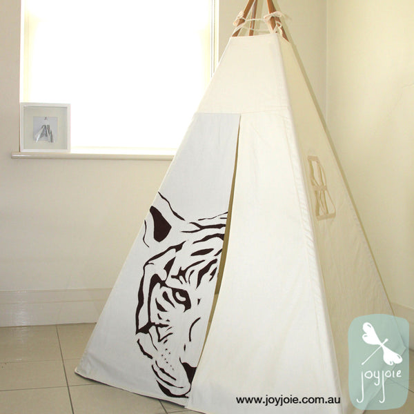 Animal Hides Tiger cream teepee with brown contrast