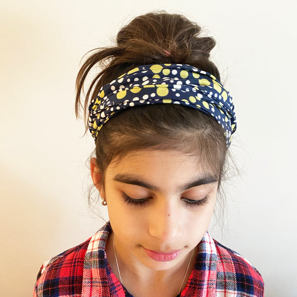 Blue with green and white spot Head Wrap | Fabric Wire Headwrap