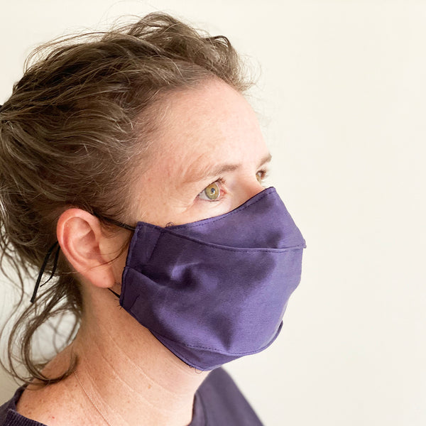 Ladies Purple Silk Face Mask | triple layer | Reusable