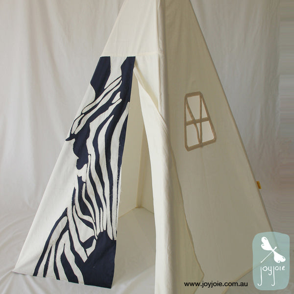 Animal Hides Zebra cream teepee with navy contrast, window side view