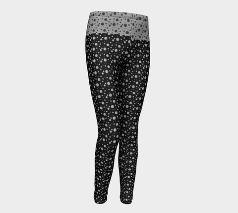 Leggings featuring Rendered Spots in Black and Grey Contrast (children)