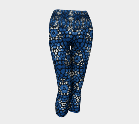 Blue Kaleidoscope Yoga Capris