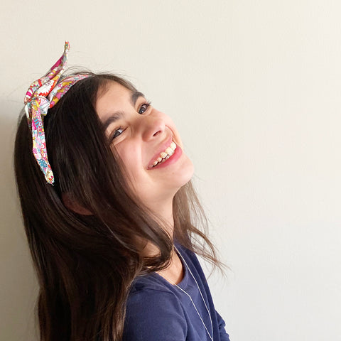 Pink patterned Head Band | Fabric Wire Headband