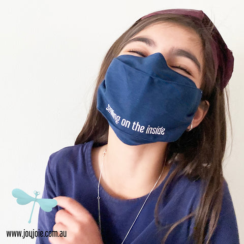 Smiling on the inside Cotton Face Mask | triple layer | Children's reuseable