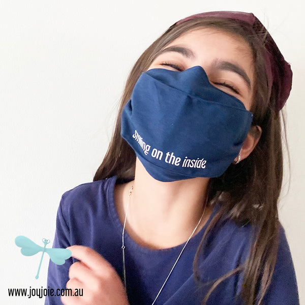 Smiling on the inside Cotton Face Mask | triple layer | Women's, men's and children's sizes